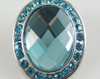 1 PC 18MM Blue Rhinestone Oval Silver Candy Snap Charm KB8688 CC0375