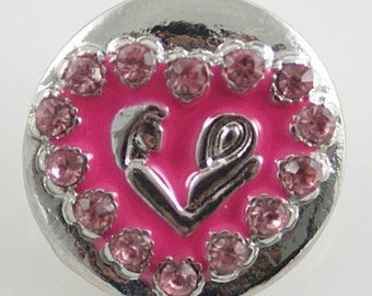 1 PC 18MM Pink Heart Mom Baby Silver Candy Snap Charm KB6247 Cc0408