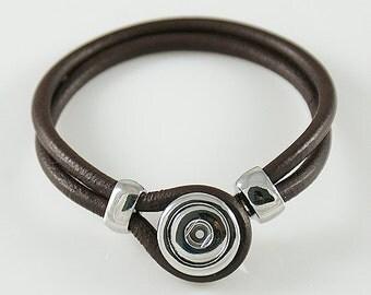 "1 Brown Leather Bracelet - 7.5"" Fits 12MM Candy Snap Charm kb0881 CJ0109"