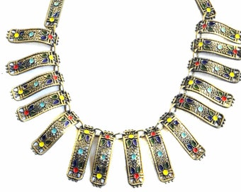 Fabulous 1930s Egyptian Revival Collar Necklace Enameled