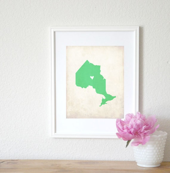 Ontario Canadian Province Personalized Map Art 8x10 Print