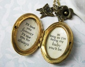 Inspirational locket jewelry for daughter baby  I'll love you forever I'll like you for always as long as im living my baby you'll be
