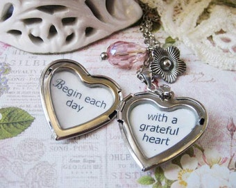 heart locket with inspirational quote Begin each day with a grateful heart pendant necklace jewelry for women motivational positive jewelry