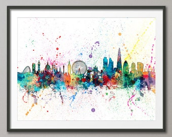 London Skyline, London Cityscape England, Art Print (1952)