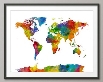 Watercolor Map of the World Map, Art Print (2021)