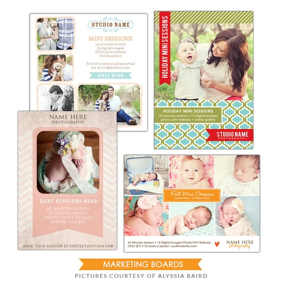 INSTANT DOWNLOAD  - Photography Marketing boards - 5x7 and 5x5 Newsletter  templates - E498-A