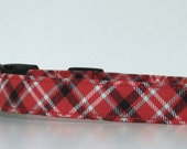 Plaid Dog Collar Red White Blue Memorial Day Fourth of July Made to Order