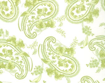 1/2 Yard - Windsor Lane - Porcelain Spring Green Paisley - By Bunny Hill Designs for Moda