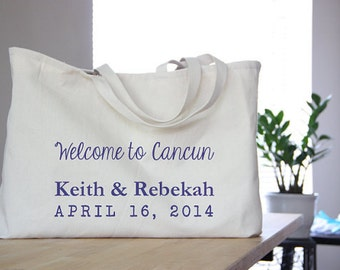Wedding Welcome Bag / / 45 Custom Totes, Print Included / / Hotel Guests Goody Bag for Destination Weddings / / Oversize Beach Tote