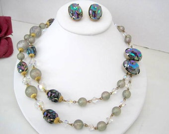 Iridescent Bead Necklace -  Unsigned Vendome - Earrings Set - Blue  Iridescent Beads