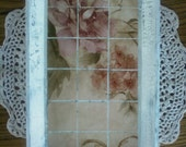 Floral Design Decoupage Wood Tray