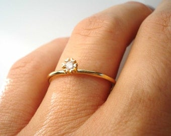 Diamond Engagement Ring, Delicated Diamond Ring, Diamond Solitaire Ring, 14k Gold Ring, Diamond Ring, Diamond Heart Ring, Free Shipping