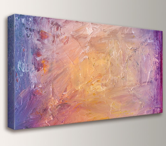 "Modern, Abstract Painting, Canvas Print - Panorama, Panoramic Art - Abstract Wall Art - "" Smolder """
