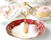 Ruby red jewelry stand, wedding place holder, mini cake stand, tidbit tray, soap dish: upcycled English bone china