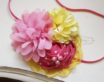 Pink and Yellow flower headband, baby headbands, rosette headbands, newborn headbands, summer headbands, photography prop