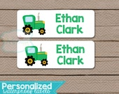 Personalized Waterproof Label Stickers - tractors - Perfect for Bottles, Sippy Cups, Daycare, School - Dishwasher Safe - 095