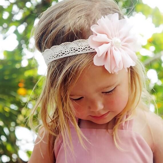 Boho Crochet Headband, Pink and Cream Headband, Blush Pink and Cream Crocheted Headband, Chloe Reese Headband