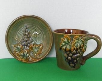 Grapes Green Stoneware Pottery Mug w Saucer