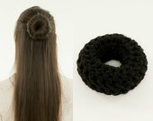 Small Black Bun Maker / Crocheted Donut Bun Maker, Handmade, Crocheted, Women's, Teens, Girls Hair Accessory, Crochet Hair Helper, Dark Hair