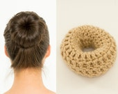 Blonde Sock Bun Maker / Crocheted Donut Bun Maker, Handmade, Women's, Teens, Girls Hair Accessory, Knit, Knitted, Crochet Hair Helper, Beige