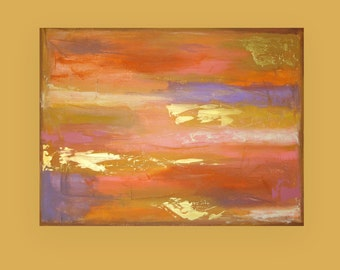 "Art,Abstract Painting,Original Acrylic Art,Fine Art Painting,Acrylic on Canvas by Ora Birenbaum, CANDLELIGHT GLOW 30x40x1.5"""