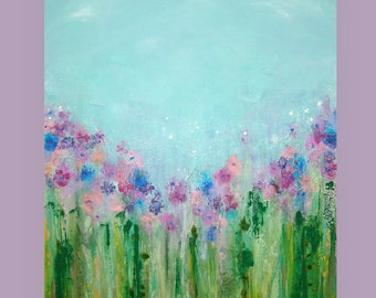 "Art,Paintings, Large Floral Abstract Garden Painting in Pastels Titled: April Showers 3 30x40x1.5"" by Ora Birenbaum"