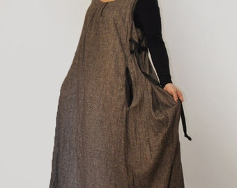 Brown casual wool dress/Sleeveless dress /Long wool Sleeveless dress/Loose dress autumn winter dress/Plus size clothing/Maxi brown dress