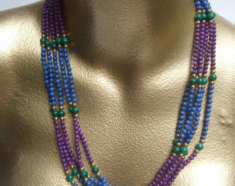 Elegant Glass Beaded Multi Color Necklace c 1980