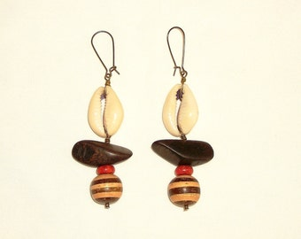 Cowrie and Coral Wooden Dangles