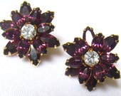 SALE Clear & Amethyst Rhinestone 3 Layer Vintage Earrings.  Starburst or Floral Appearance.  Clip backs