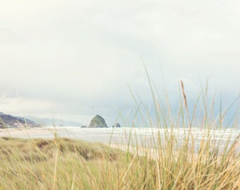 Oregon Beach Photography - Haystack Rock - Cannon Beach - Oregon Photo - Fine Art Photograph - Oregon Coast - White Green Blue Home Decor