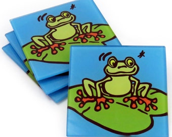 Frog Tempered Glass Coasters