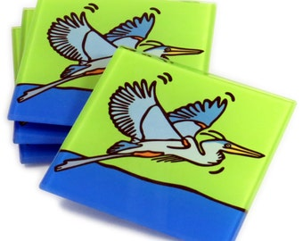 Great Blue Heron Tempered Glass Coasters