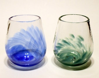 Set of two hand blown stemless wine glasses by girlcandydesigns - Hand blown stemless wine glasses ...