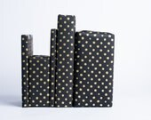Gold Dots on Black Gift Wrap / 3 Sheets