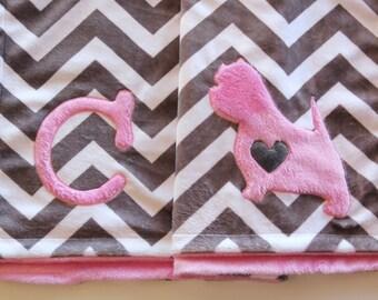 Yorkie Baby Blanket, Minky Yorkie Blanket, Yorkshire Terrier Dog Blanket, Large Crib Blanket, Minky Crib Blanket, Chevron Crib Blanket