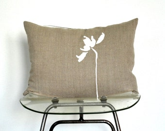 Tulip Flower drawing on linen pillow cover hand print - 100% natural linen eco friendly fabric -Beige pillow/ white flower pillow hand print
