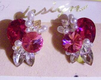 Bridal Earrings Fushia & Pink Swarvoski Rhinestone Pearls Pierced Earrings Vintage New Designer Nicole Mintzes New York