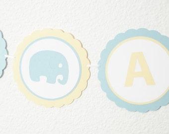 IT'S A BOY, Elephant Baby Shower Banner, Boy Baby Shower, Baby Shower Decor, Blue and Yellow, Baby Shower Sign