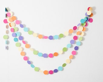 Paper Garland - Baby Shower Decoration - Pastel Rainbow Garland - 14ft
