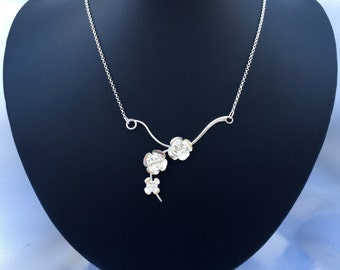 Sterling Silver Cherry Blossom Necklace Pendant - SS p3735N