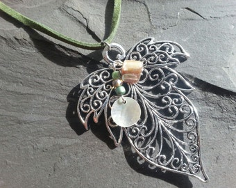 Sale! Romantic fairy leaf necklace with Mother of Pearl. Silver metal pendant & green beads. Fantasy woodland boho  pagan tree faux suede