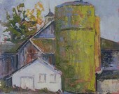 Barn Art. Print of plein air oil painting. High Quality Giclee reproduction. Autumn Colors. Farm Silo. Very affordable artwork. Gift item.