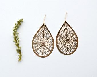 Gold Teardrop Earrings, Laser Cut Earrings, Gold Dangle Earrings Boho Jewelry -  B130(K)