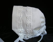 Handkerchief Baby Bonnet TRELLIS lace Heirloom Magic Hanky Wedding New Arrival Baby Bonnet for baby showers Christening or just to wear