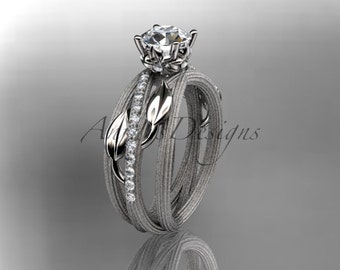 14kt white gold diamond leaf and vine wedding ring, engagement ring ADLR329