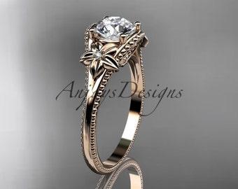 14k rose gold leaf and flower diamond unique engagement ring ADLR375