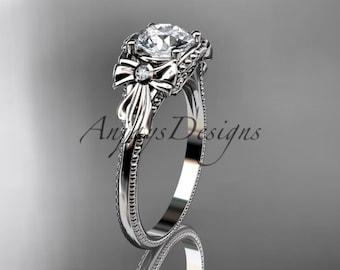 14k white gold diamond unique engagement ring ADLR376