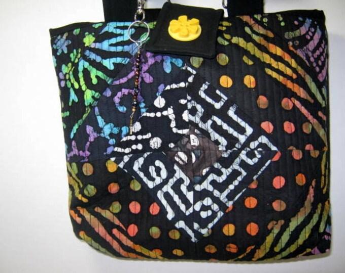 Batik Colorful Lining Quilted Yarn Organizer Tote, Library Book Bag, Yarn Holder Tote, Bible Tote, Yarn Storage Tote