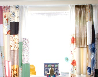 Patchwork Curtains Set of 2 Panels Boho Bohemian Curtain Hippie Cottage Chic Decor Shabby Chic Colorful Kids Curtains